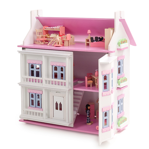 Mamakiddies Georgian Wooden Doll House With Furniture And Dolls (White)